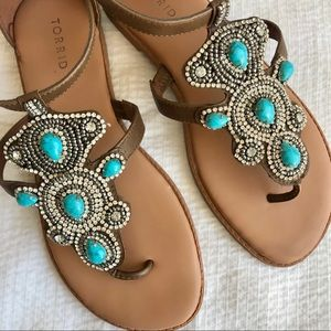 [Torrid] Turquoise Stone Extra Wide Sandals